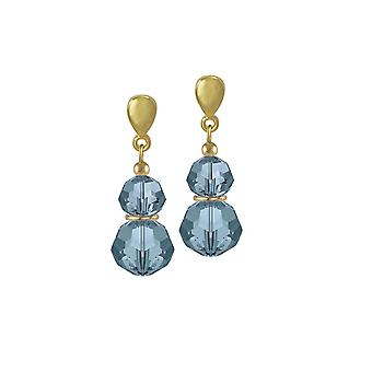 Eternal Collection Echo Denim Blue Austrian Crystal Gold Tone Drop Pierced Earrings