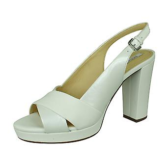 Geox D Mauvelle C Womens Open Toe Heeled Leather Sandals - White