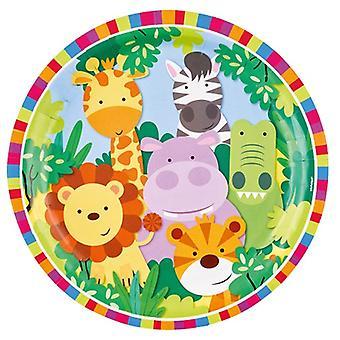 Giungla animali partito piatto 23 cm 8 pezzo Safari Adventure bambini Wedstag