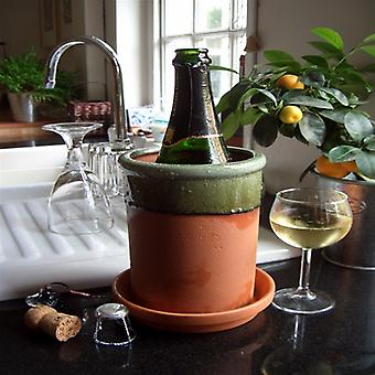 Terracotta Round Wine Cooler With Apple Glaze & Saucer