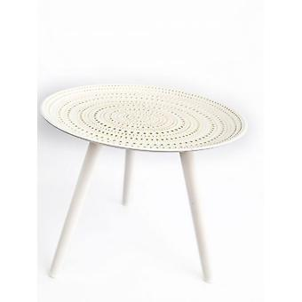 Wooden White Table Round 49x41cm Stylish Strong