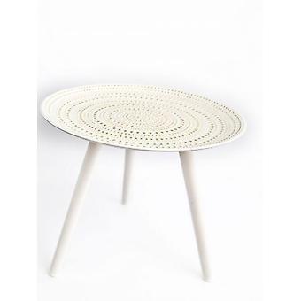Tavolo bianco in legno rotondo 49x41cm elegante forte
