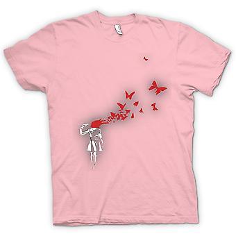 Mens T-shirt - Banksy Graffiti Art - Butterly