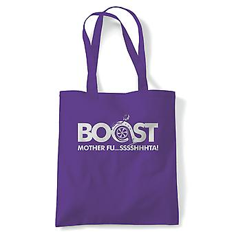 Boost Mother Fusssshhhta Funny Car Tote | Drifting Japanese GT WRX DBC Fast Tuner Furious | Reusable Shopping Cotton Canvas Long Handled Natural Shopper Eco-Friendly Fashion