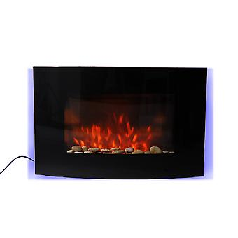 Homcom Large LED Curved Glass Electric Wall Mounted Fireplace Fan Heater
