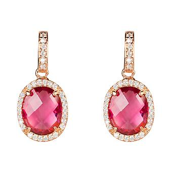 Earring Rose Gold Pink Tourmaline Stud Gemstone Dangle Gift 925 Statement Bold
