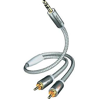 RCA / Jack Audio/phono Cable [2x RCA plug (phono) - 1x Jack plug 3.5 mm] 5 m White, Silver gold plated connectors Inakus