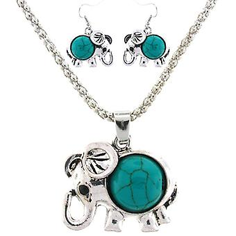 Antique  and  Turquoise Indian Elephant Necklace  and  Earrings Set
