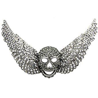 Butler & Wilson Silver Crystal Skull & vingar brosch
