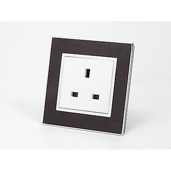I LumoS AS Luxury Goat Skin Leather Single Unswitched Wall Plug 13A UK Sockets