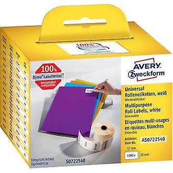 Etiquetas Avery Zweckform (rodillo) 57 mm x 32 mm papel blanco 1000 PC etiquetas removibles multiuso AS0722540