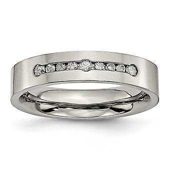 Titanium Polished 1/4ct Tw. Diamond 6mm Band Ring - Ring Size: 8 to 13