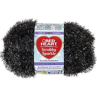 Red Heart Scrubby Sparkle Yarn-Licorice E851-8012