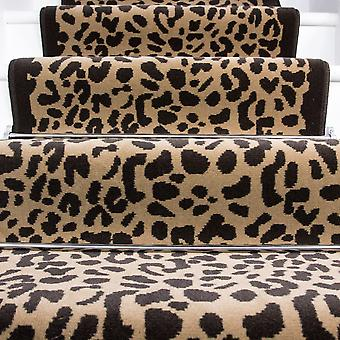 60cm Width - Beige & Brown Retro Leopard Print Stair Carpet