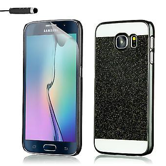 Glitzer Case + Stift für Samsung Galaxy S7 SM-G930 - schwarz