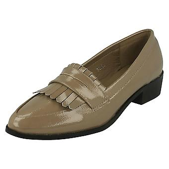 Womens Spot On Pointed Toe Loafer Flat