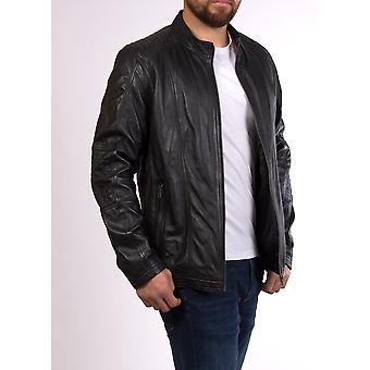 Ross Casual Fit Lederjacke in schwarz