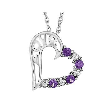 Amethyst Love Heart Pendant Necklace in Sterling Silver with Chain