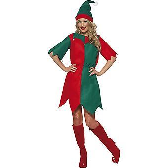 Эльфа костюм Дамы платье платье Рождества эльф