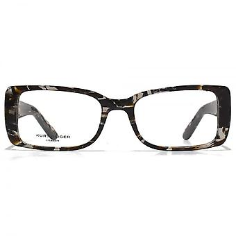 Kurt Geiger Isabelle Square Acetate Glasses In Crystal Grey Striped Tortoiseshell