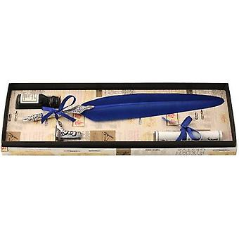 Coles Calligraphy Feather Quill Ink and Pewter Pen Holder Set - Blue