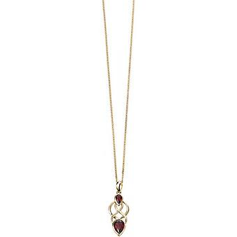 Elements Gold Kaleidoscope 9ct Gold Garnet Celtic Pear Drop Pendant - Red/Gold