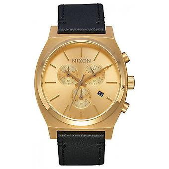 Nixon The Time Teller Chrono Leather Watch - Black/Gold