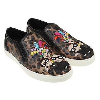 Dolce&Gabbana women's animal print slip-on sneakers