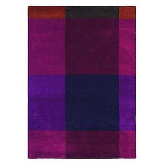 Plaid Burgundy Geometric Blocks Rug- Ted Baker 57805