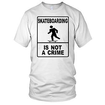 Skateboarding Is Not A Crime - B&W Skateboarder Skateboard Ladies T Shirt