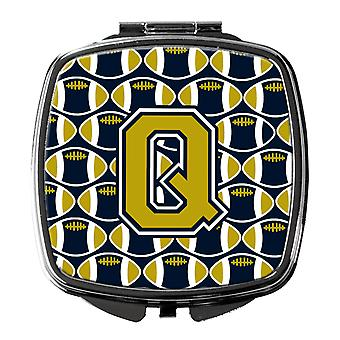 Carolines Treasures  CJ1074-QSCM Letter Q Football Blue and Gold Compact Mirror