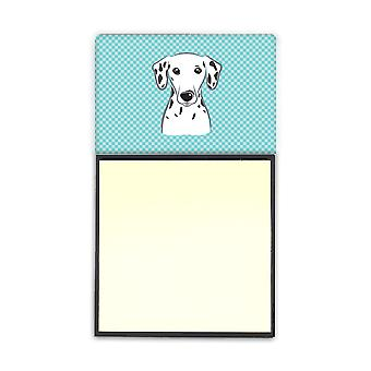 Checkerboard Blue Dalmatian Refiillable Sticky Note Holder or Postit Note Dispen