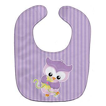 Carolines tesouros BB9050BIB menina pássaro com babador de bebê roxo flores