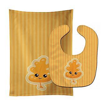 Carolines Treasures  BB8762STBU Fall Leaf Baby Bib & Burp Cloth