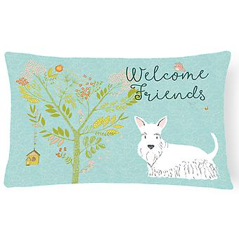 Welcome Friends White Scottish Terrier Canvas Fabric Decorative Pillow