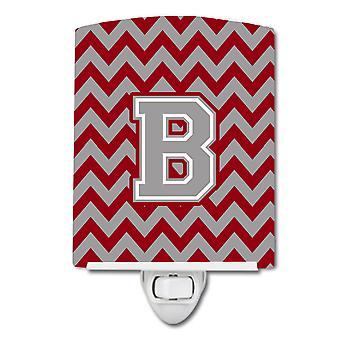 Letter B Chevron Crimson and Grey   Ceramic Night Light