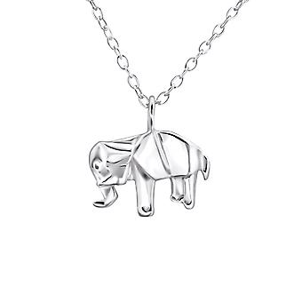 Origami Elephant - 925 Sterling Silver Plain Necklaces - W26040x