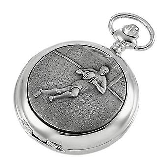 Woodford Rugby Skeleton Chain Pocket Watch - Silver