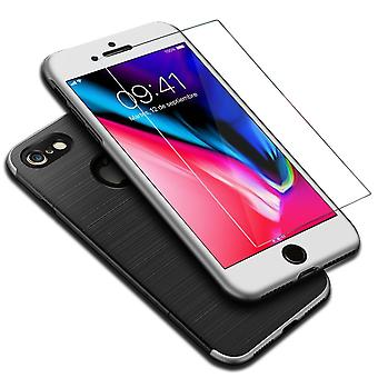 Apple iPhone 8 2 in 1 Handyhülle 360 Grad Full Cover Case Silber