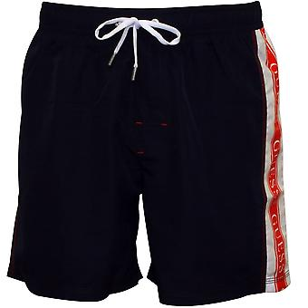 Guess-Seite-Logo Swim Shorts, Navy