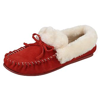 Ladies Four Seasons Moccasin Style Slippers Kay - Dark Red Suede - UK Size 4 - EU Size 37 - US Size 6.5