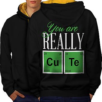 Cute Chemistry Geek Men Black (Gold Hood)Contrast Hoodie Back | Wellcoda