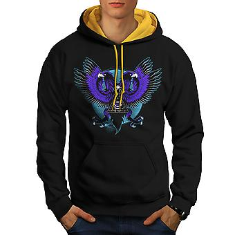 Eagle Triangle Men Black (Gold Hood)Contrast Hoodie | Wellcoda