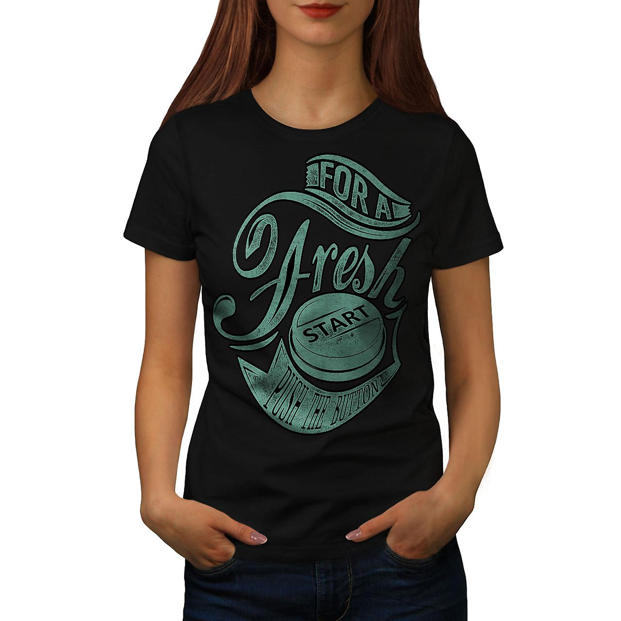 Fresh Start Button Gaming Women Black T-shirt | Wellcoda