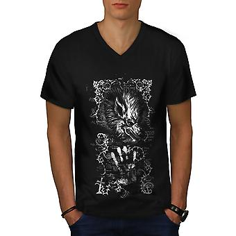 Tier Teufel Wolf Männer BlackV-Neck T-shirt | Wellcoda