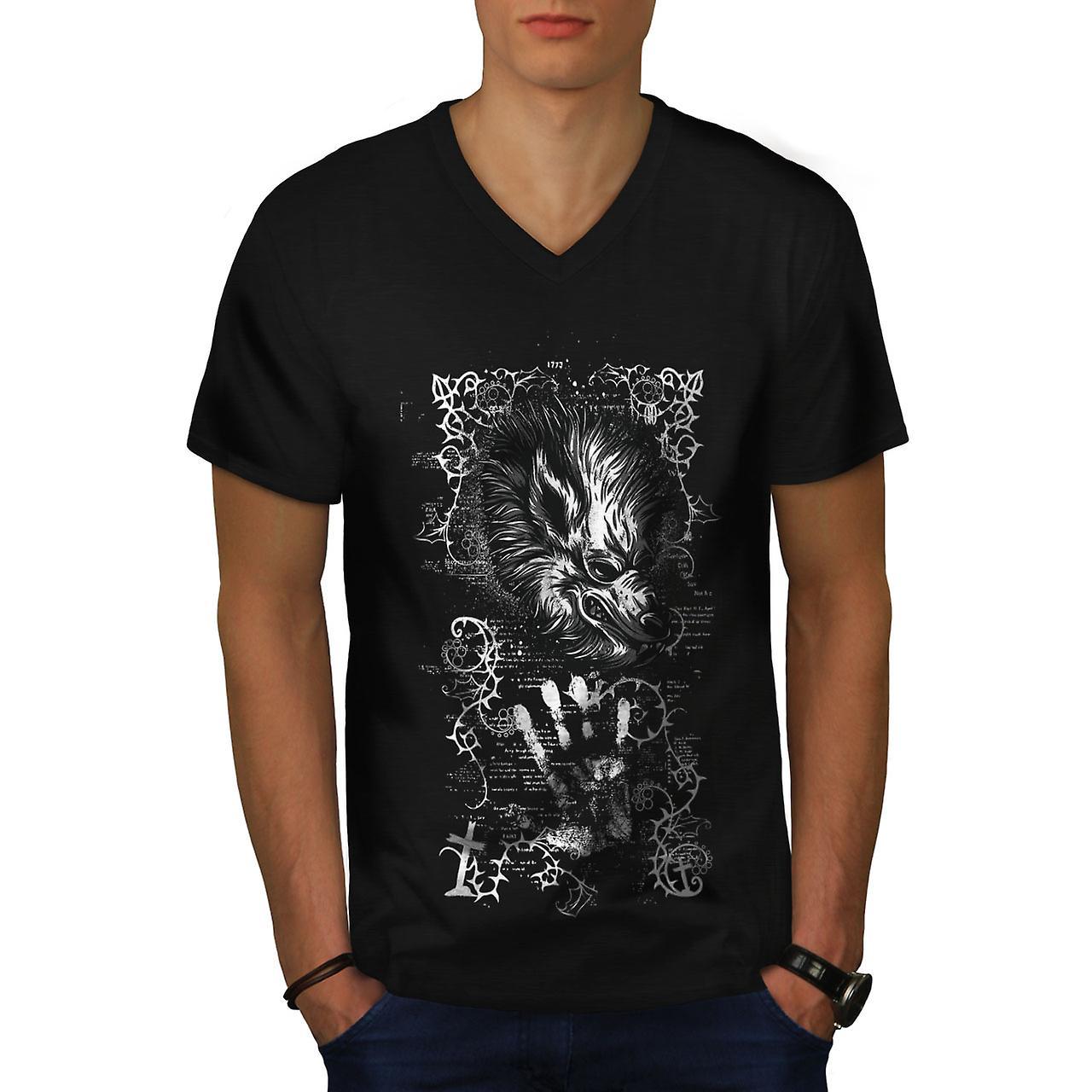 Beest duivel Wolf mannen BlackV-Neck T-shirt | Wellcoda