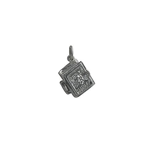 Silver 15x14mm The Holy Bible Pendant or Charm