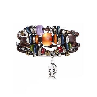 Bracelet man Multi ranks in leather Brown beads, fish and stainless steel