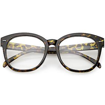 Oversize Horn Rimmed Round Eyeglasses Metal Rivets Clear Lens 55mm