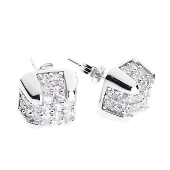 Sterling 925 Silver earrings - BOX 10 mm MICRO PAVE